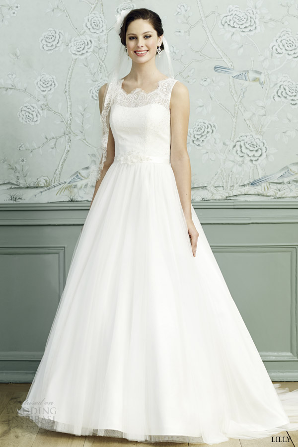 lilly bridal 2015 sleeveless full a line wedding dress scalloped lace neckline 08 3539 cr