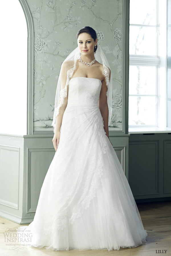lilly bridal 2015 strapless wedding dress ruched side waist 08 3535 cr