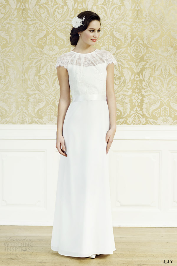 lilly bridal 2015 wedding dress lace cap sleeve top 08 3550 cr