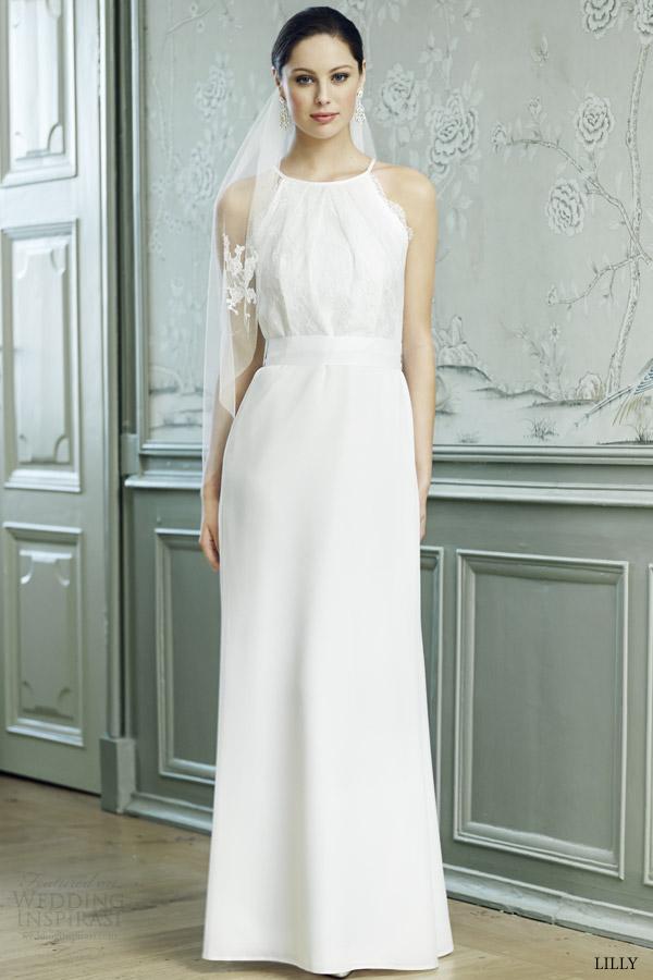 lilly bridal 2015 wedding dress sleeveless halter neck 08 3551 cr