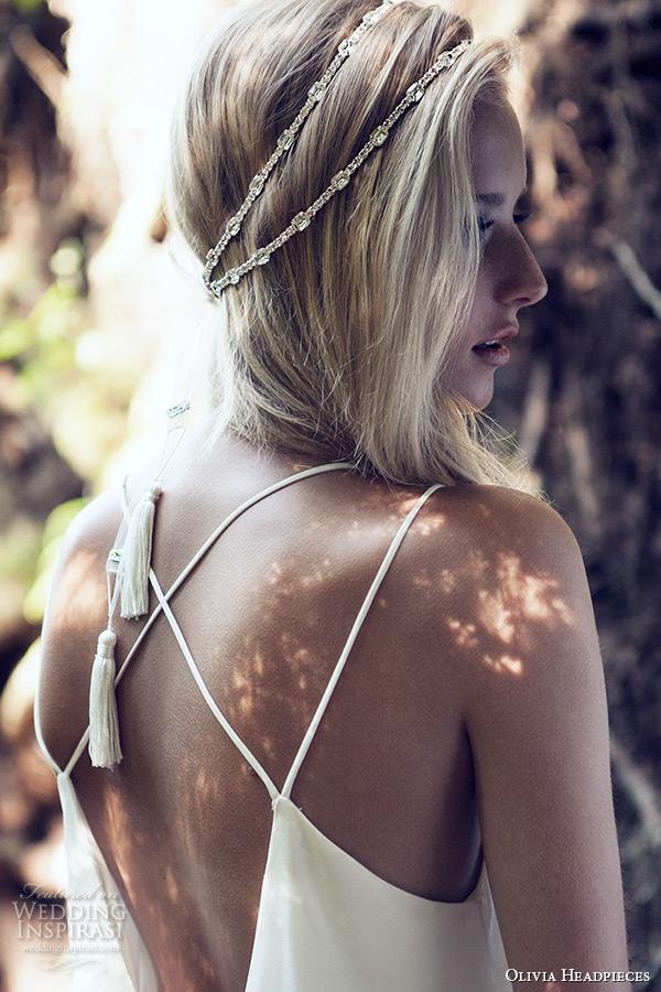 olivia headpieces 2015 wedding bridal crystal head band organza ribbon rayon tassels style wanda back