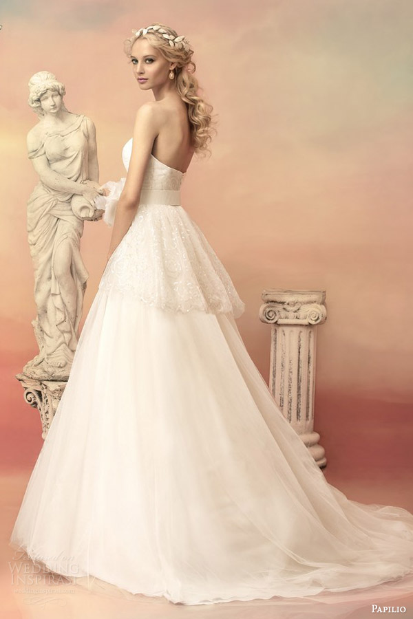 papilio bridal 2015 adonia strapless ball gown wedding dress lace peplum bodice back view