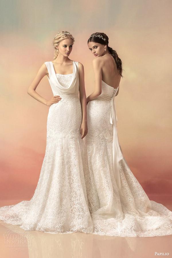 papilio bridal 2015 athena lace wedding dress strapless cowl neck straps versions