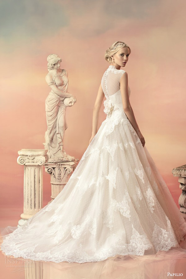 papilio bridal 2015 aurora embroidered sequin cap sleeve high neck lace ball gown wedding dress back view train