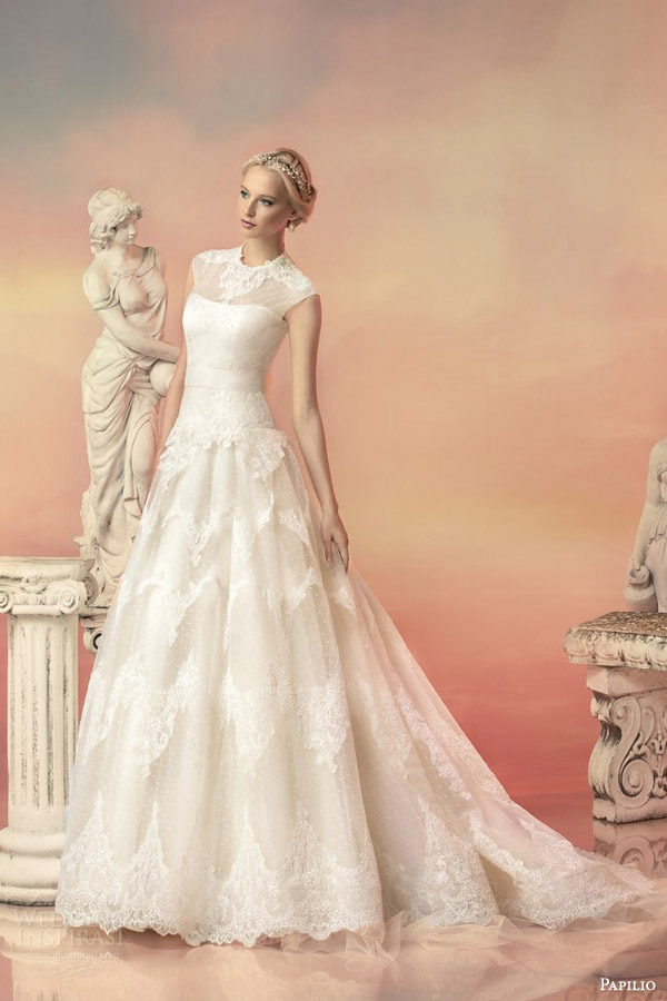 papilio bridal 2015 aurora embroidered sequin cap sleeve high neck lace ball gown wedding dress