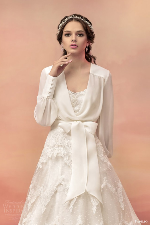 Papilio 2015 wedding dresses hellas bridal collection for Wedding dress long sleeve lace jacket