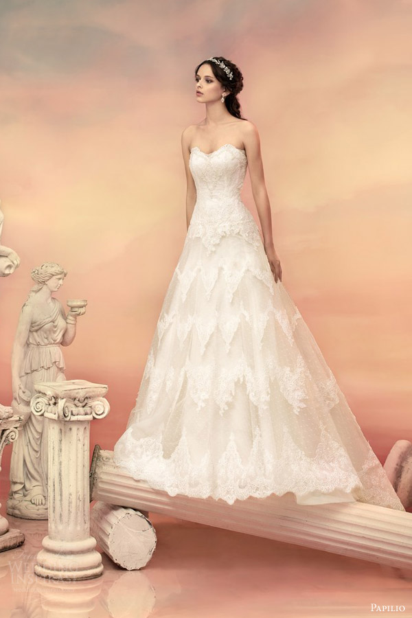 papilio bridal 2015 castillo strapless lace ball gown wedding dress