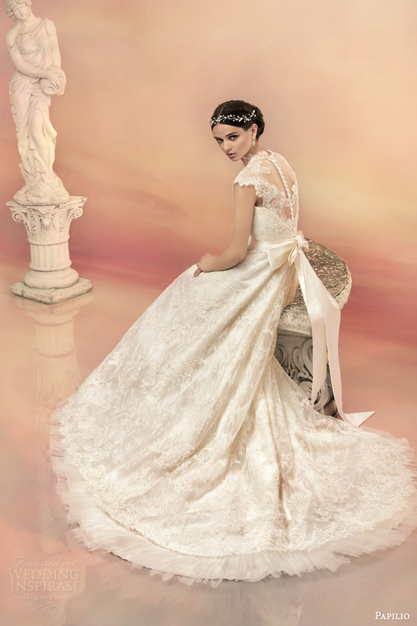 papilio bridal 2015 dorothea beaded lace cap sleeve wedding dress mikado bow illusion back view trrain