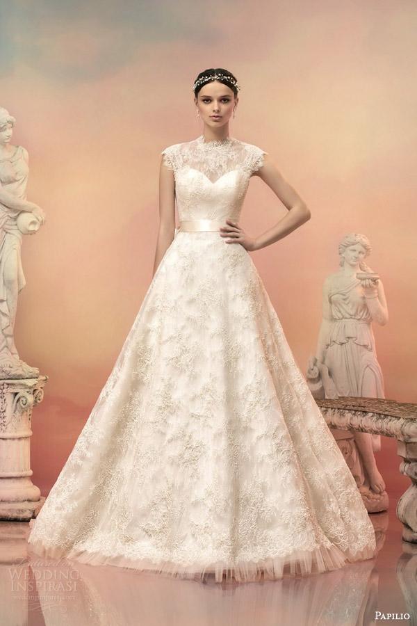 papilio bridal 2015 dorothea beaded lace cap sleeve wedding dress mikado bow illusion