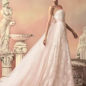 papilio bridal 2015 elissa pale pink lace wedding dress detachable tulle train