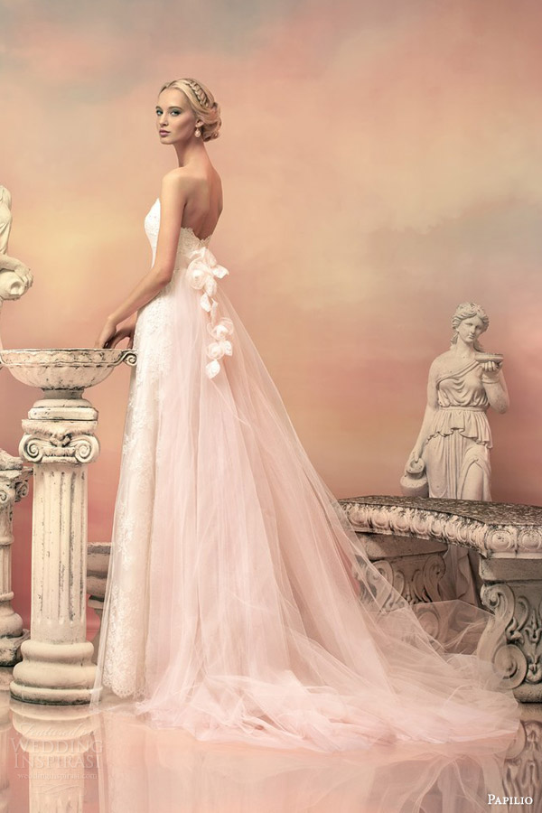 Papilio 2015 wedding dresses hellas bridal collection part 1 papilio bridal 2015 elissa pale pink lace wedding dress detachable tulle train back view junglespirit Images