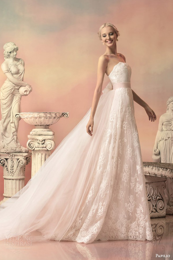 Papilio 2015 wedding dresses hellas bridal collection part 1 papilio bridal 2015 elissa pale pink lace wedding dress detachable tulle train junglespirit Images
