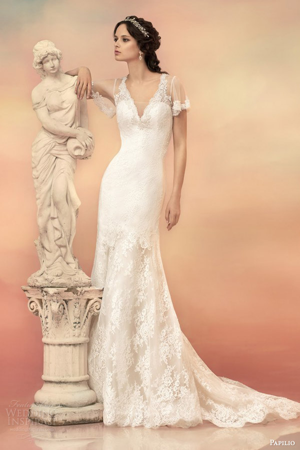 papilio bridal 2015 illusion flutter sleeve wedding dress 1530