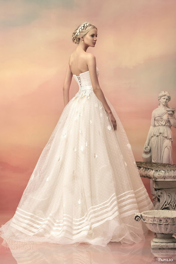 papilio bridal 2015 pheodora strapless ball gown wedding dress embroidered flowers back view sweep train