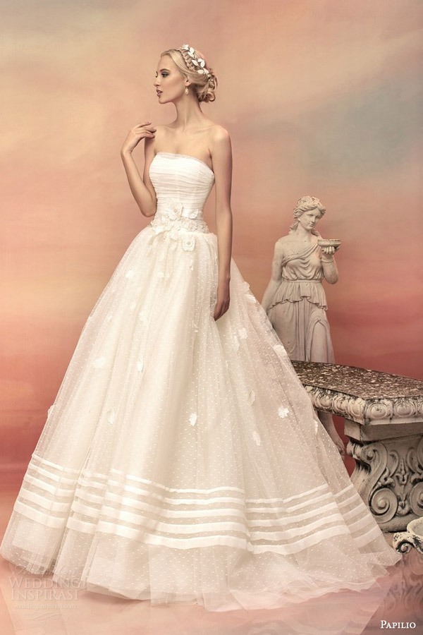 papilio bridal 2015 pheodora strapless ball gown wedding dress embroidered flowers