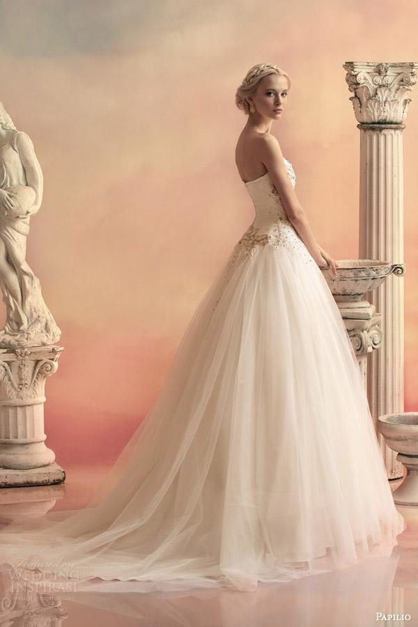 papilio bridal 2015 pheofania strapless sweetheart ball gown wedding dress embellished bodice side view train