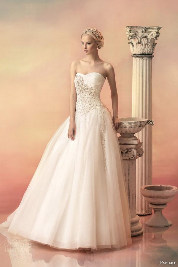 papilio bridal 2015 pheofania strapless sweetheart ball gown wedding dress embellished bodice