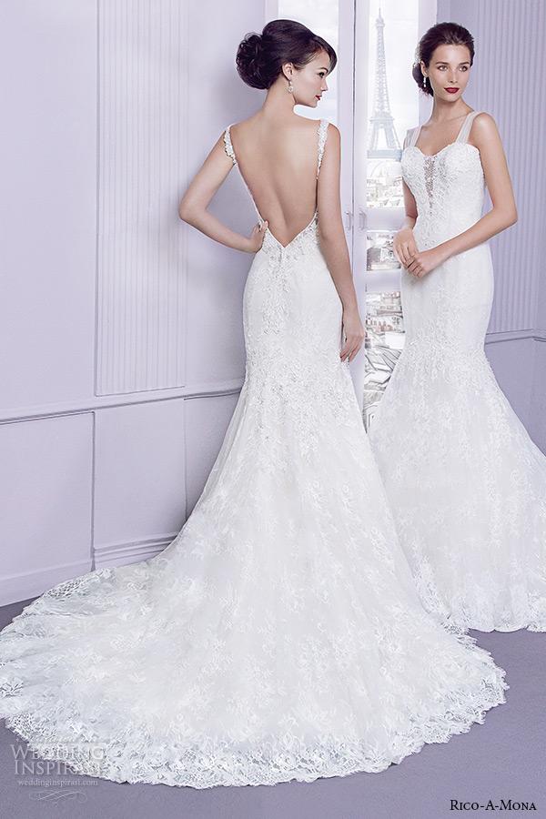 Rico a mona 2015 wedding dresses parisian blush bridal for Low cut back wedding dress