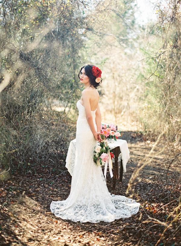 watters brides 2015 strapless sweetheart sheath lace wedding dress train back view allen tsai photography
