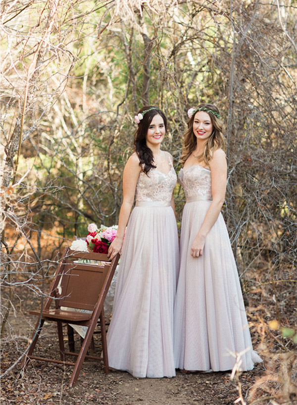 watters bridesmaids spring 2015 mix match bridesmaids gown styles lucca brescia  a line bobbinet skirt sequined lace bodice full view allen tsai photo shoot sarah keestone