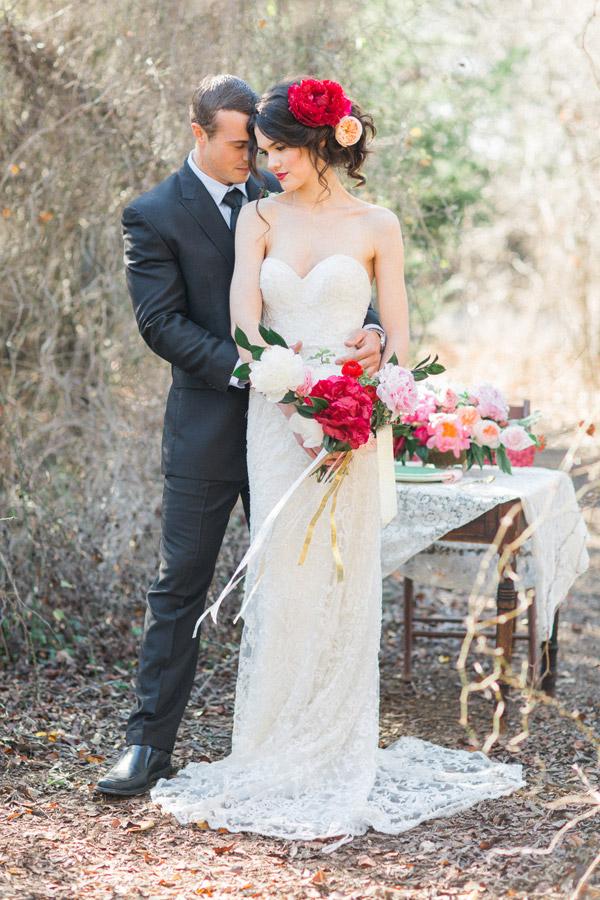 watters wedding dress 2015 strapless sweetheart lace bridal gown train bride groom peonies valentine photoshoot allen tsai photography sarah keestone