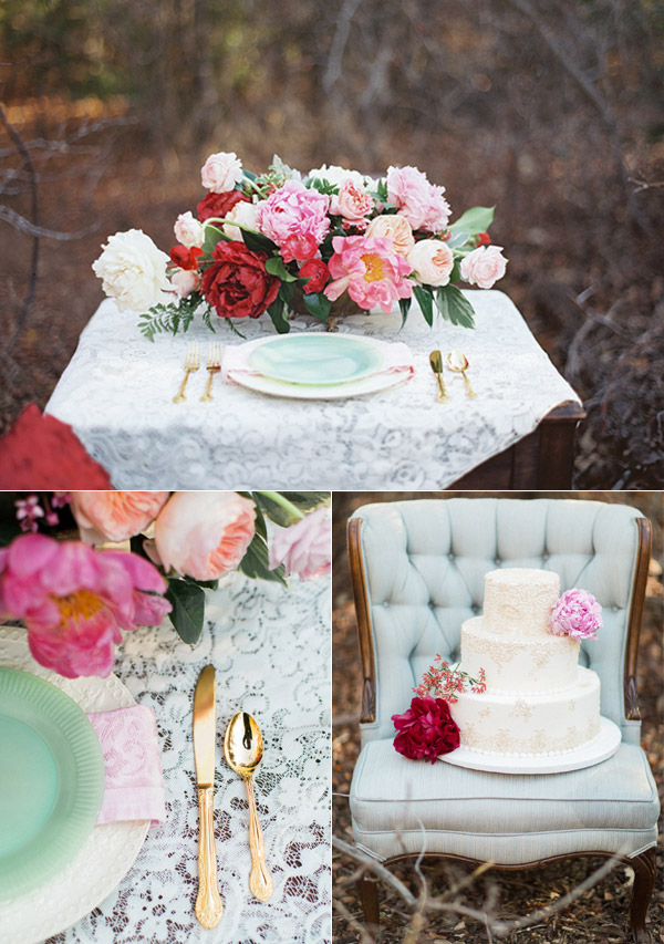 wedding cake table centerpiece flowers bouquet red pink peach mint gold pastel bridal inspiration valentines day photoshoot allen tsai photography sarah keestone events giant peonies