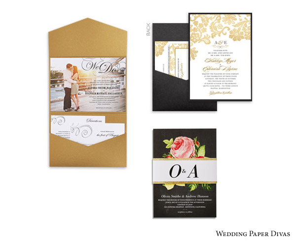 wedding paper divas bridal stationery suite envelopments pocket fold layered pocket belly band