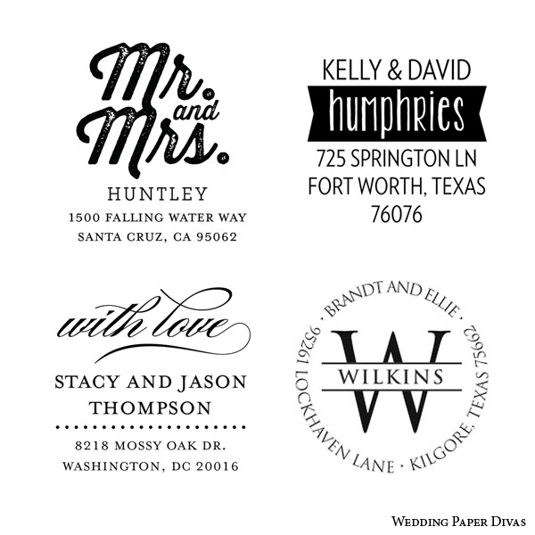 wedding paper divas custom self inking rubber stamp return address wedding invitations back envelope flap