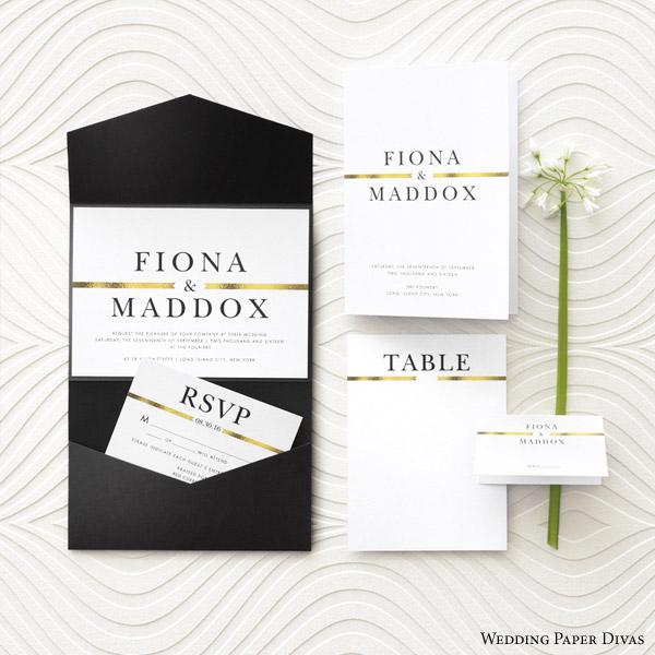 wedding paper divas golden band wedding invitation suite bridal stationery wedding invite response cards RSVP