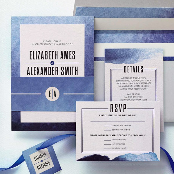 wedding paper divas wedding invitation suite deep romance deep sea cobalt blue watercolor style invitations wedding invites