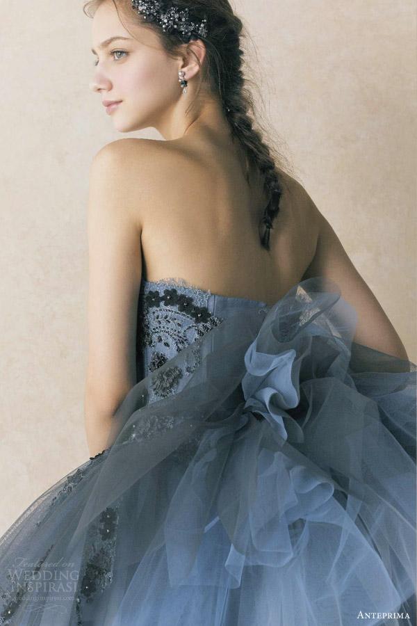 anteprima bridal 2013 izumi ogino blue gray strapless ball gown wedding dress ant0064
