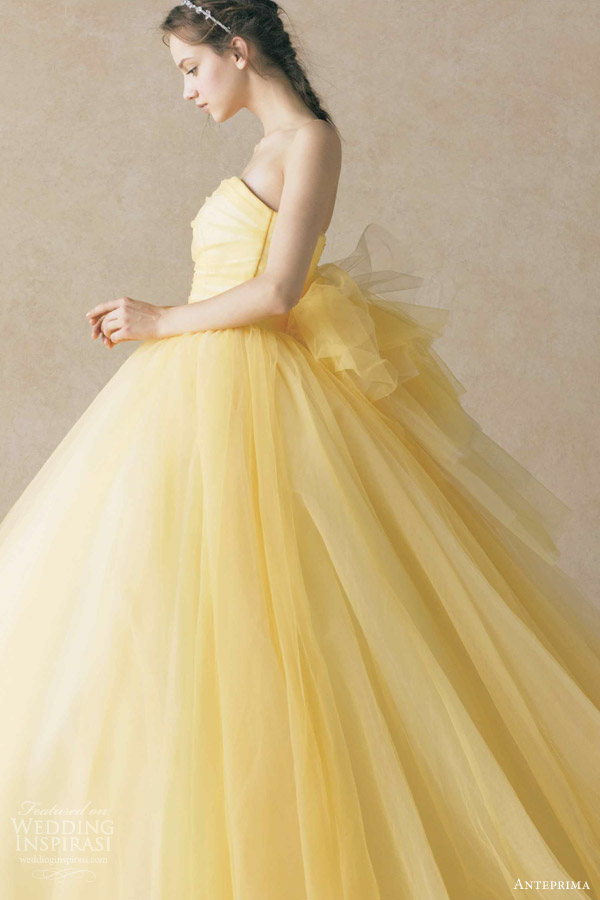 anteprima bridal yellow colored wedding dress ball gown