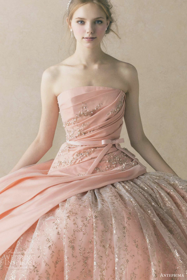 anteprima wedding dress coral pink orange strapless ball gown ruched bodice gold thread beading embroidery ant  59