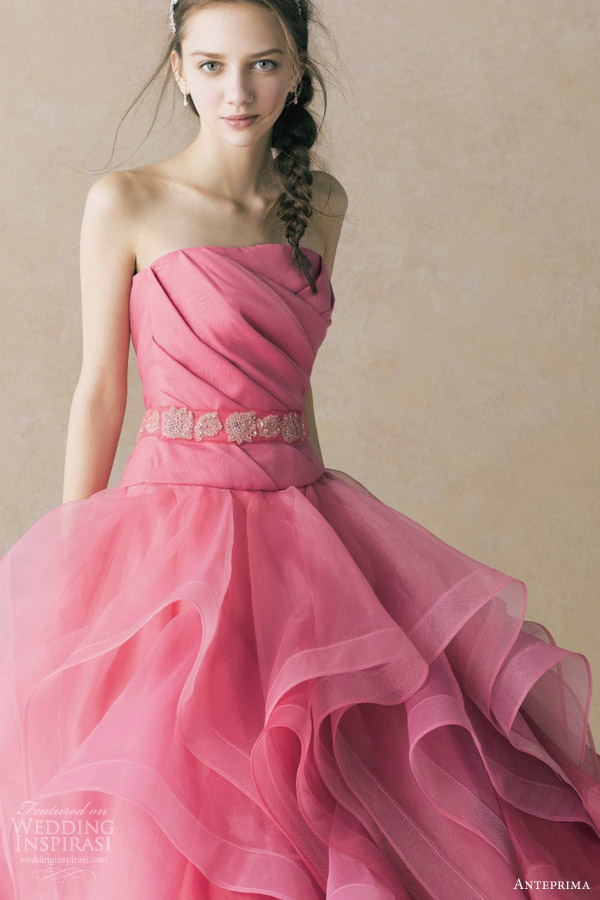 anteprima wedding dress coral pink strapless ball gown ruched bodice belt ruffle skirt ant0068