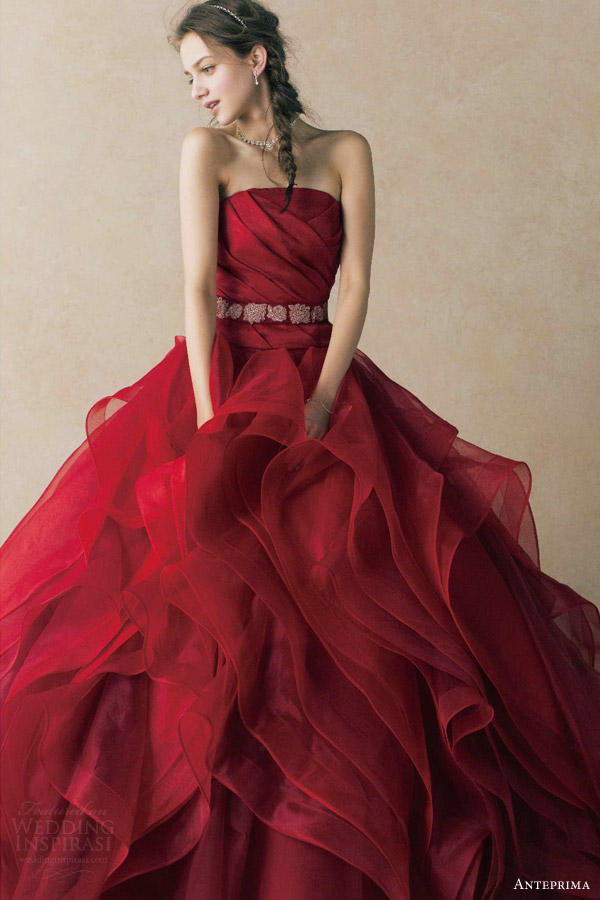 anteprima wedding dress deep red strapless ball gown ruched bodice belt ruffle skirt ant0068