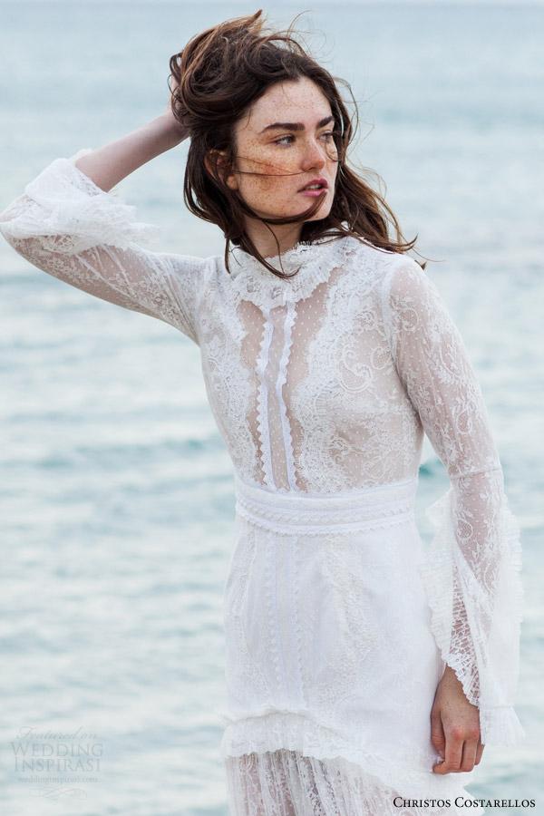christos costarellos bridal 2016 14 long sleeve lace wedding dress high neck close up