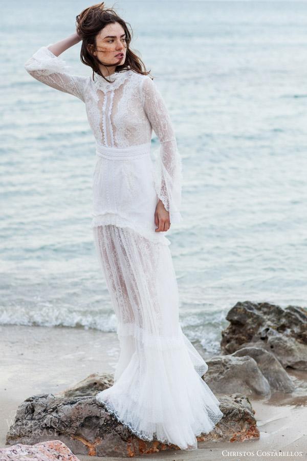 christos costarellos bridal 2016 14 long sleeve lace wedding dress high neck