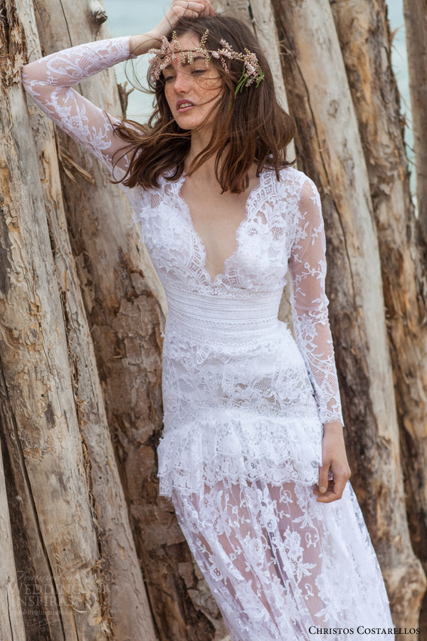 christos costarellos bridal 2016 18 long sleeve lace wedding dress scalloped deep v neckline bohemian romantic