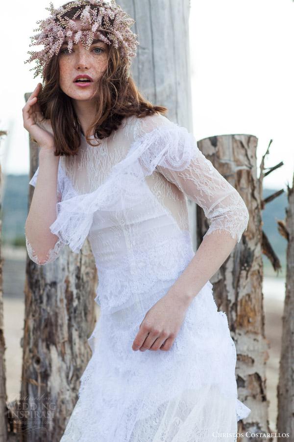 christos costarellos bridal 2016 19 three quarter sleeves wedding dress high  neckline romantic bohemian