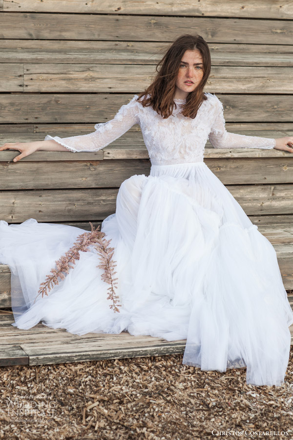 christos costarellos bridal 2016 26 long sleeve wedding dress ruched a line skirt sitting