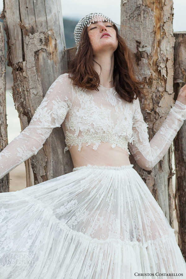 christos costarellos bridal 2016 33 long sleeve lace illusion cropped top wedding dress ruched a line skirt close up