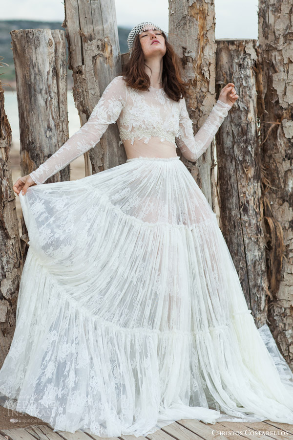 christos costarellos bridal 2016 33 long sleeve lace illusion cropped top wedding dress ruched a line skirt