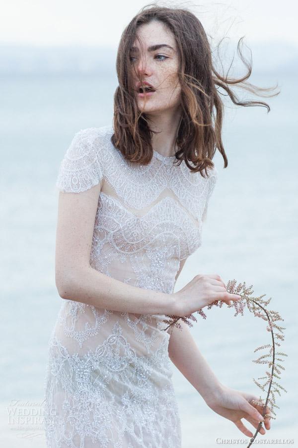 christos costarellos bridal 2016 40 cap sleeve high neck lace sheath wedding dress close up