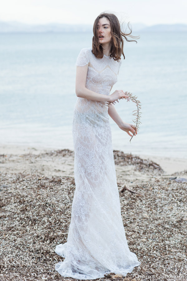 christos costarellos bridal 2016 40 cap sleeve high neck lace sheath wedding dress
