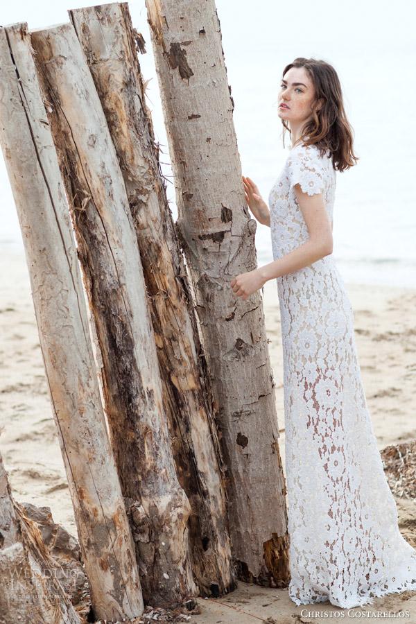 christos costarellos bridal 2016 41 cap sleeve high neck crochet lace sheath column wedding dress