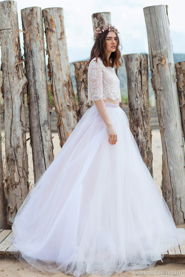 christos costarellos bridal 2016 42 cropped top with half sleeves 30 full a line tulle skirt