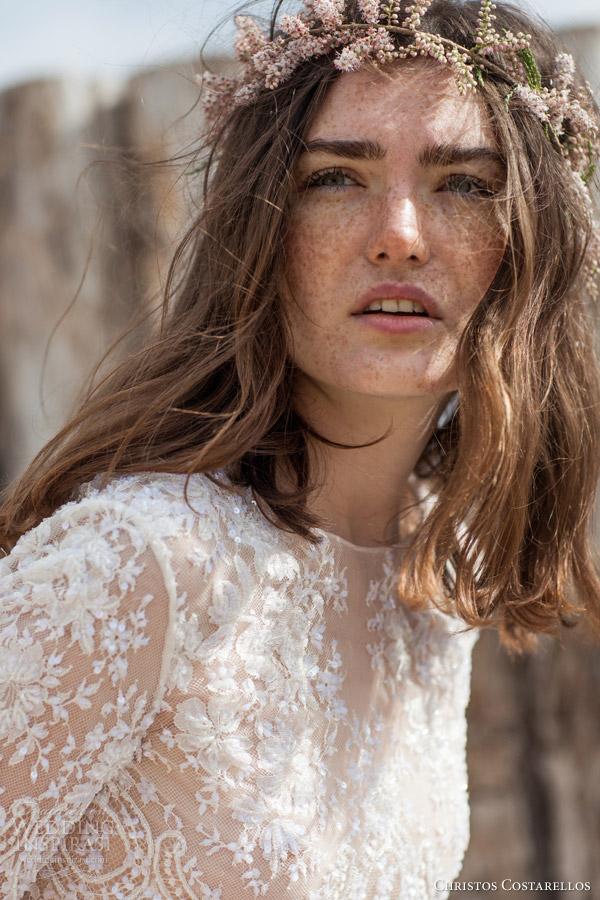 christos costarellos bridal 2016 42 lace net high neck half sleeve top close up bodice