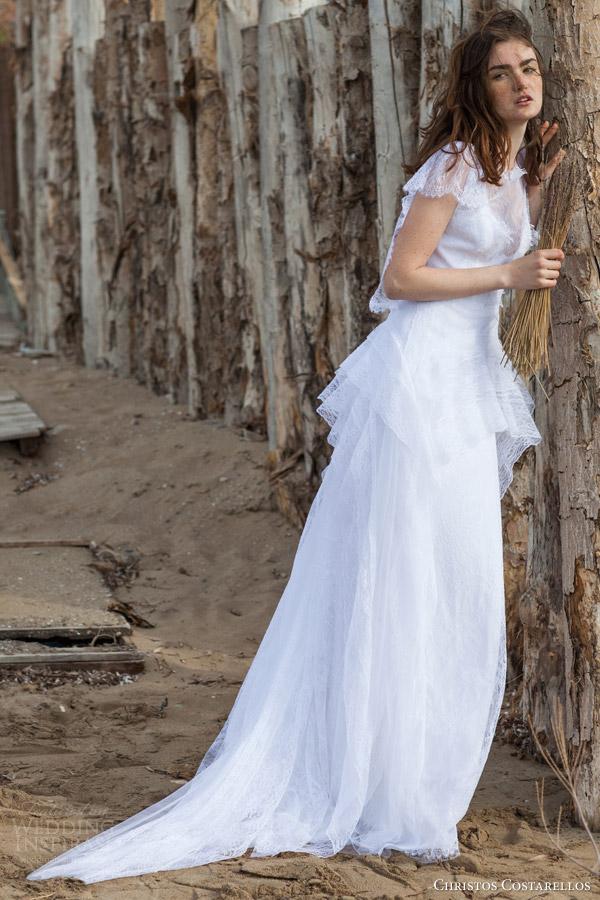 christos costarellos bridal 2016 60 flutter sleeves wedidng dress peplum layered skirt