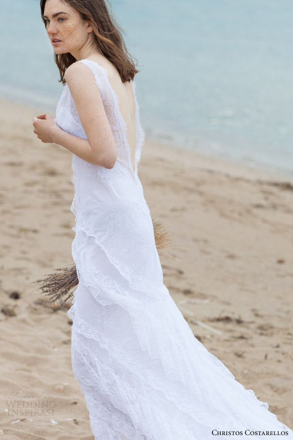 christos costarellos bridal 2016 61 sleeveless wedding dress lace plunging v back