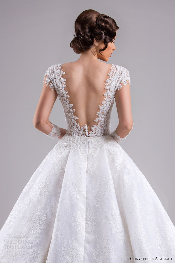 chrystelle atallah bridal spring 2015 ball gown wedding dress illusion sleeves back view close up